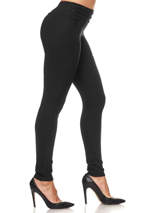 Damen Treggings Biker Leder Optik Knöpfe Stretch Hüfthose Hose Leggings D2093 – Bild 20