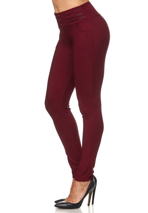 Damen Treggings Biker Leder Optik Knöpfe Stretch Hüfthose Hose Leggings D2093 – Bild 24