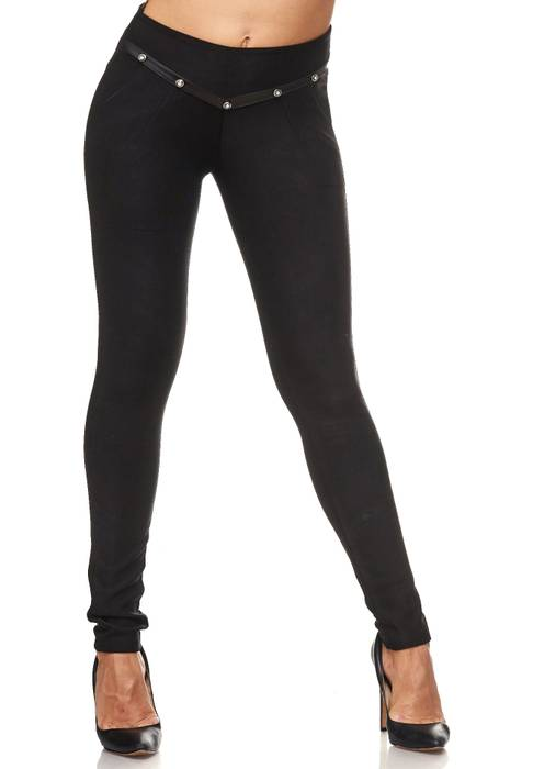 Damen Treggings Leder Glitzer Strass Stretch Hüfthose Röhre Hose Leggings D2094 – Bild 2