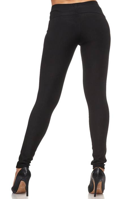 Damen Treggings Leder Glitzer Strass Stretch Hüfthose Röhre Hose Leggings D2094 – Bild 6