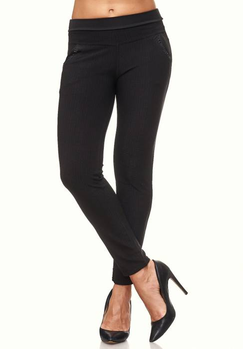 Damen Treggings Glitzer Strass Stretch Hüfthose Leggings Hose D2095 – Bild 3