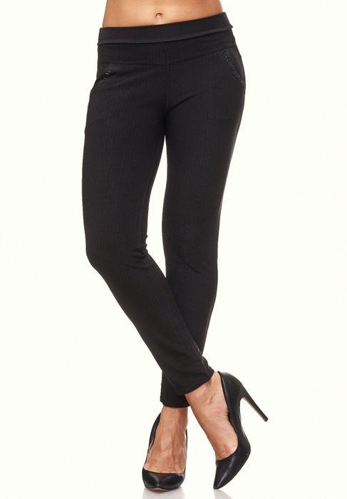 Damen Treggings Glitzer Strass Stretch Hüfthose Leggings Hose D2095 – Bild 3