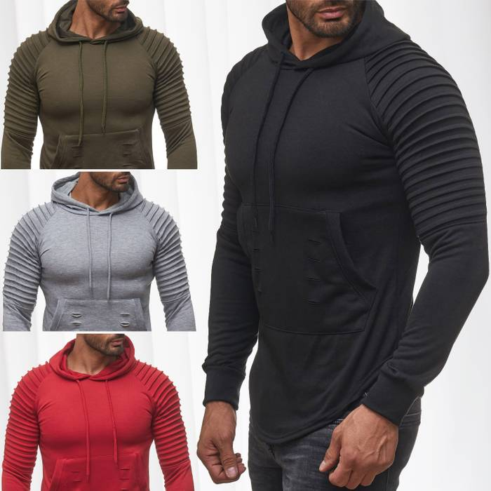 FORBEST Herren Kapuzen-Pullover Biker Destroyed Ripped Hoodie Long Sweat Langarm Shirt H2107 – Bild 1