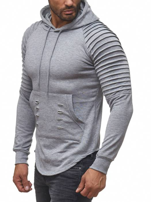 FORBEST Herren Kapuzen-Pullover Biker Destroyed Ripped Hoodie Long Sweat Langarm Shirt H2107 – Bild 3