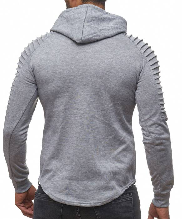 FORBEST Herren Kapuzen-Pullover Biker Destroyed Ripped Hoodie Long Sweat Langarm Shirt H2107 – Bild 4