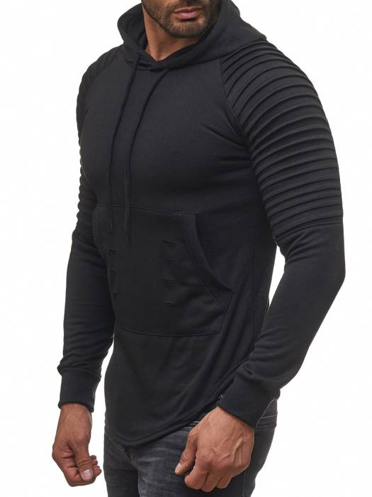 FORBEST Herren Kapuzen-Pullover Biker Destroyed Ripped Hoodie Long Sweat Langarm Shirt H2107 – Bild 12