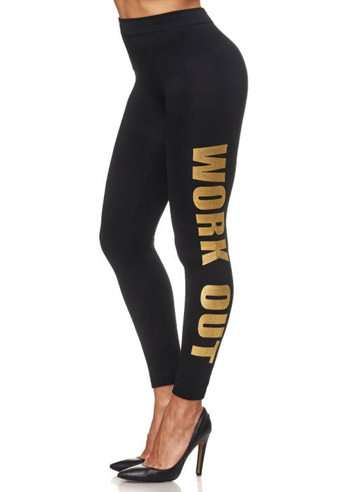 Damen Leggings Metallic Sport Hose Stretch Treggings Skinny D2108 – Bild 2