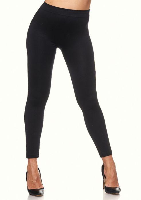Damen Leggings Metallic Sport Hose Stretch Treggings Skinny D2108 – Bild 3
