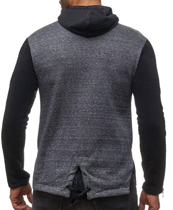 Herren Zip Hoodie Biker Sweat Jacke Muster Meliert Pullover Kapuze H2111 – Bild 7