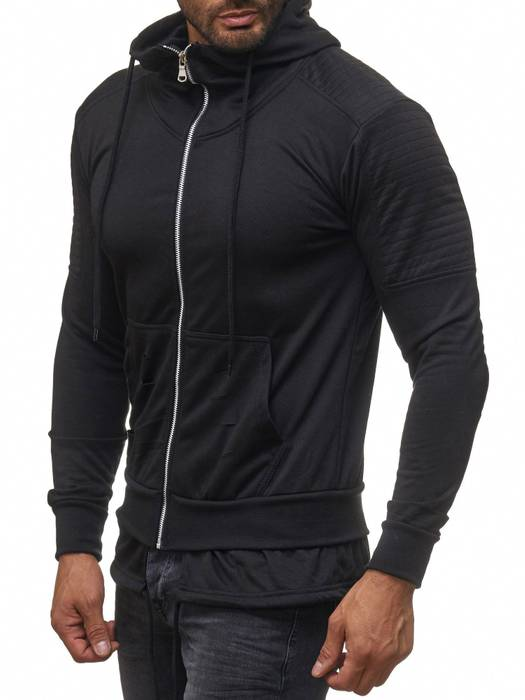 Herren Zip Hoodie Ripped Pullover Destroyed Sweat Jacke H2113 – Bild 6