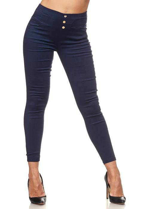 Damen Treggings Hoher Bund Stretch Hose Skinny Jeggings D2117 – Bild 2