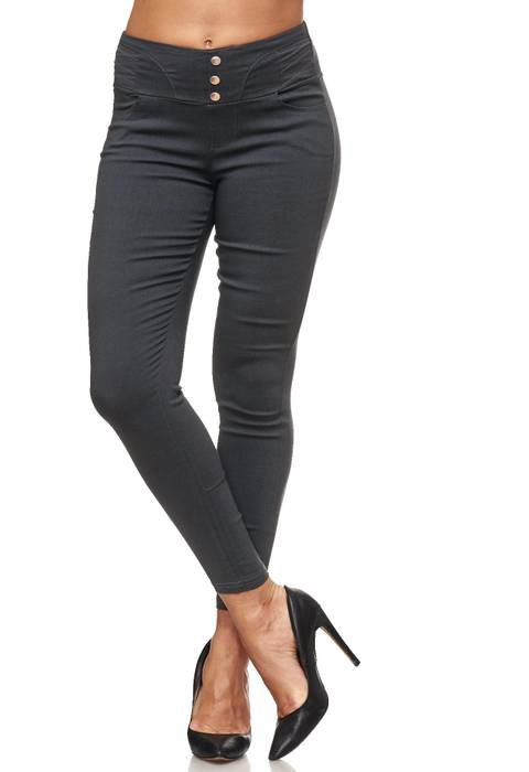 Damen Treggings Hoher Bund Stretch Hose Skinny Jeggings D2117 – Bild 8
