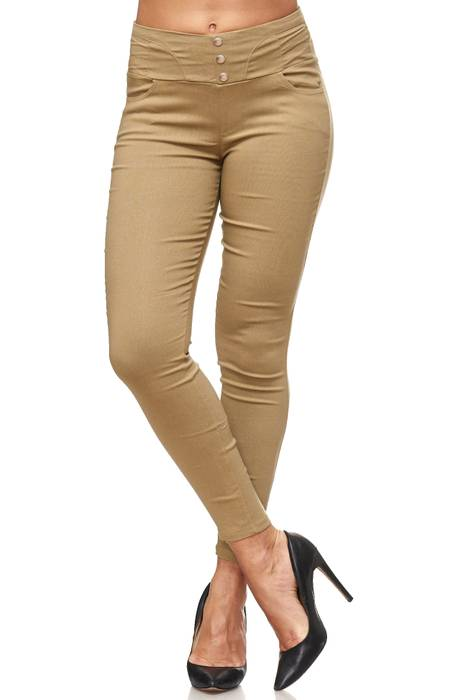 Damen Treggings Hoher Bund Stretch Hose Skinny Jeggings D2117 – Bild 23