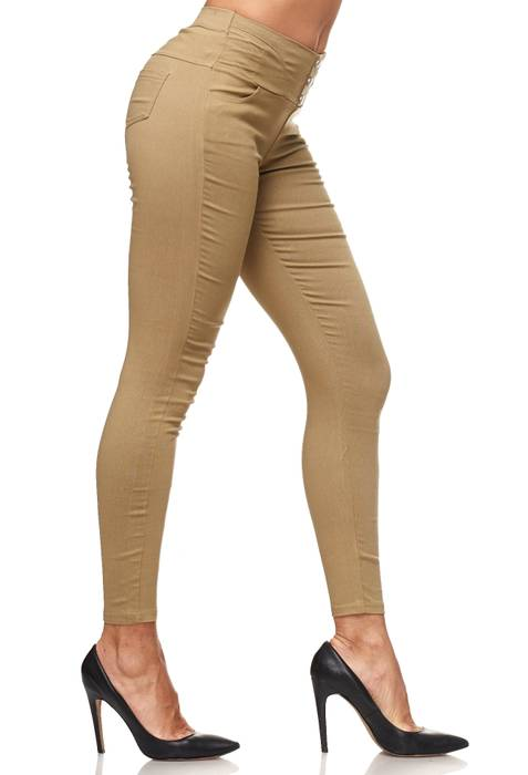 Damen Treggings Hoher Bund Stretch Hose Skinny Jeggings D2117 – Bild 25