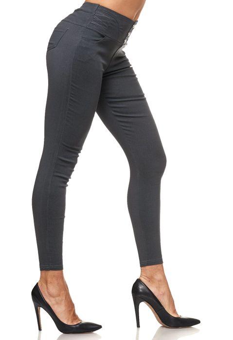 Damen Treggings Hoher Bund Stretch Hose Skinny Jeggings D2117 – Bild 10