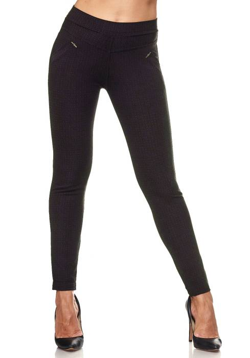 Damen Treggings Dezent Gemustert Verzierung Jeggings Skinny Stretch Hose D2120 – Bild 7