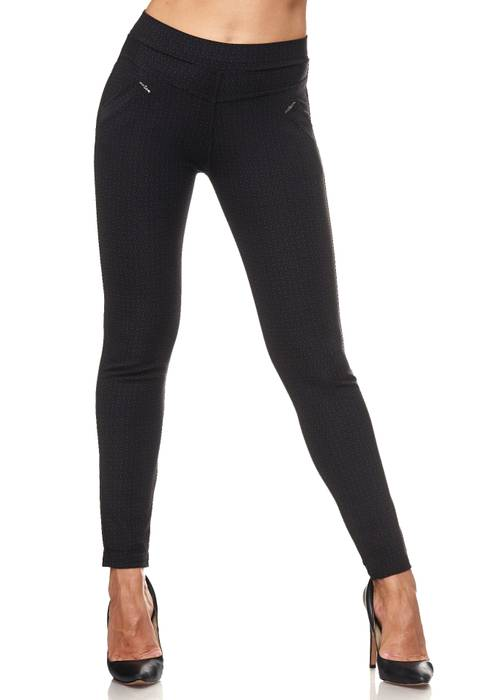 Damen Treggings Dezent Gemustert Verzierung Jeggings Skinny Stretch Hose D2120 – Bild 2
