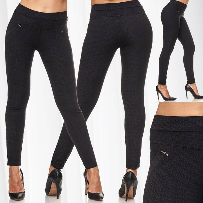 Damen Treggings Dezent Gemustert Verzierung Jeggings Skinny Stretch Hose D2120 – Bild 1