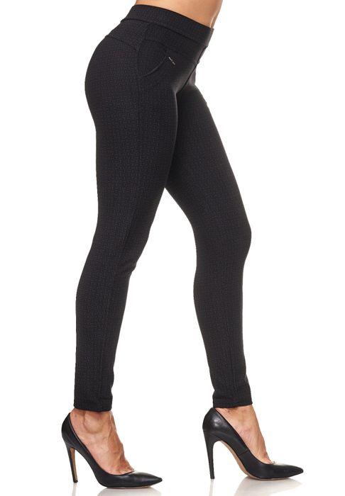 Damen Treggings Dezent Gemustert Verzierung Jeggings Skinny Stretch Hose D2120 – Bild 5