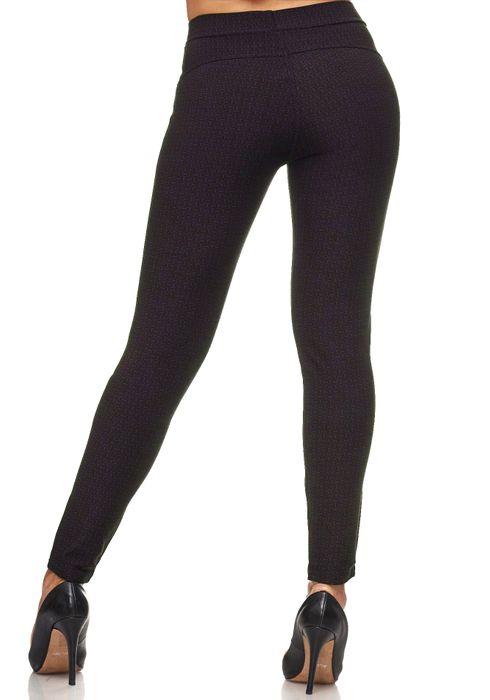 Damen Treggings Dezent Gemustert Verzierung Jeggings Skinny Stretch Hose D2120 – Bild 10