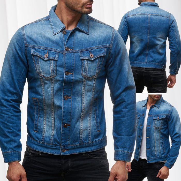 Herren Jeans Jacke Used Jeanshemd Übergangsjacke Biker H2136 – Bild 1