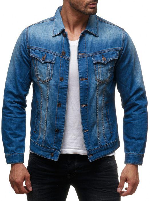 Herren Jeans Jacke Used Jeanshemd Übergangsjacke Biker H2136 – Bild 4
