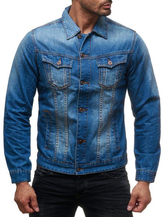 Herren Jeans Jacke Used Jeanshemd Übergangsjacke Biker H2136 – Bild 2