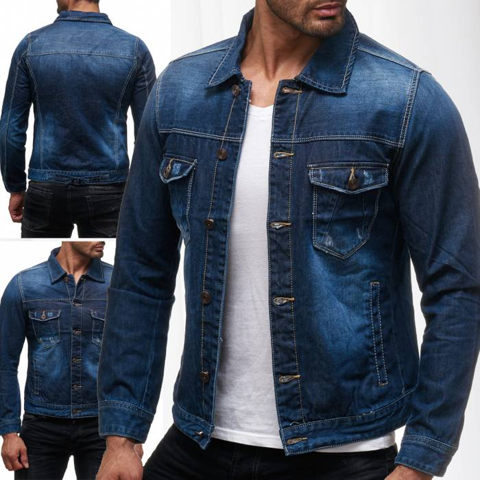 Herren Jeans Jacke Used Jeanshemd Übergangsjacke Kurz H2137 – Bild 1