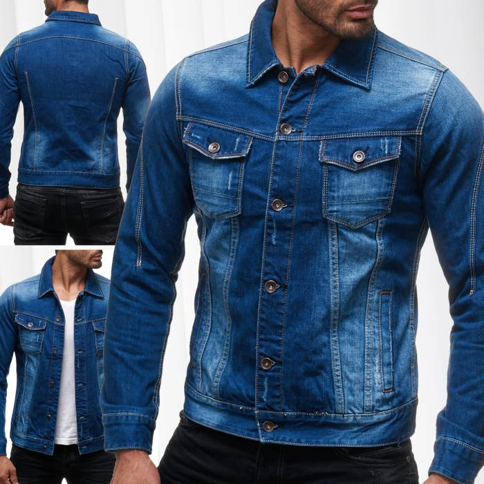 Herren Jeans Jacke Destroyed Jeanshemd Übergangsjacke H2138 – Bild 1