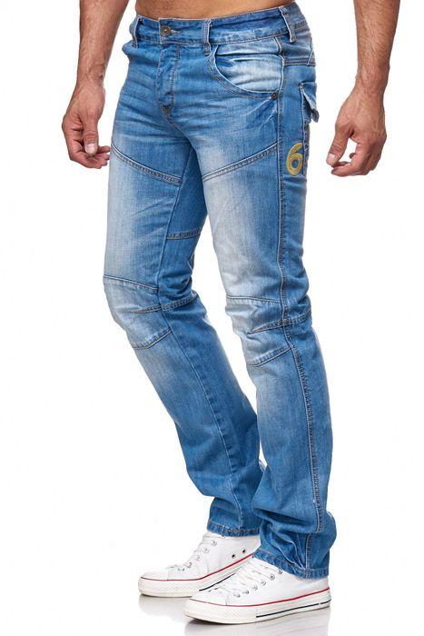 Herren Jeans Biker Knie Denim Hose H2141 – Bild 3