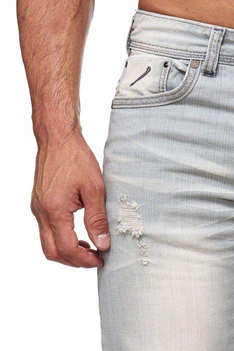 Herren Jeans Ripped Biker Hose Straight H2144 – Bild 5