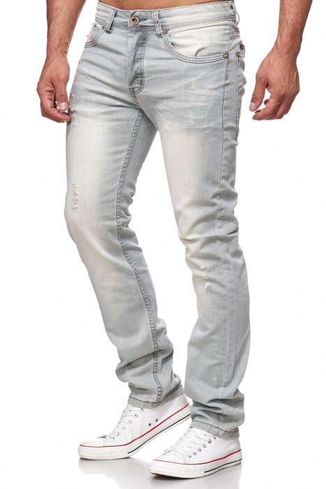 Herren Jeans Ripped Biker Hose Straight H2144 – Bild 3