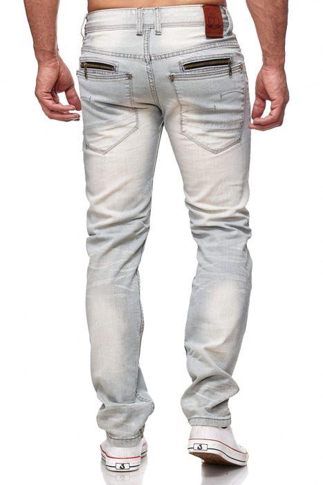 Herren Jeans Ripped Biker Hose Straight H2144 – Bild 4