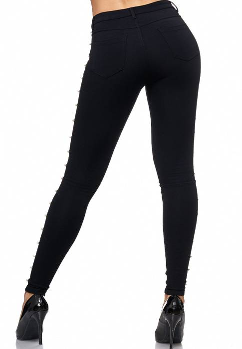 Damen Treggings Perlen Stretch Jeggings Genietet D2145 – Bild 5