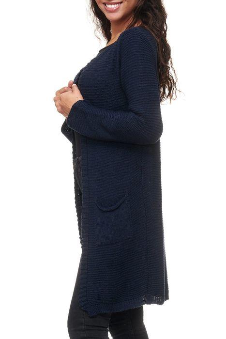 Damen Cardigan Long Strick Weste Einfarbig Uni D2158 – Bild 9