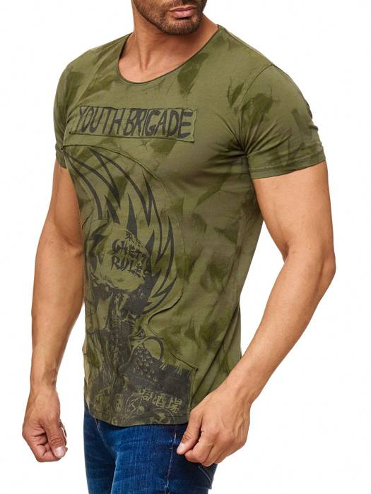 Herren T Shirt Allover Dirty Batik Print Skull Punk H2162 – Bild 3