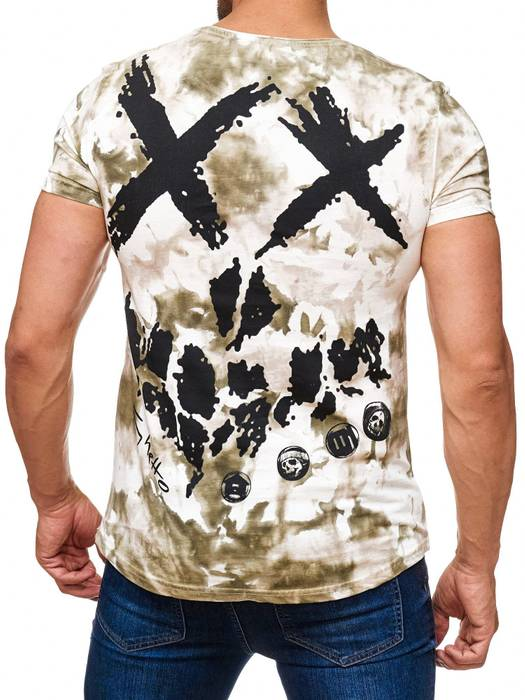 Herren T Shirt Allover Dirty Batik Print Skull Punk H2162 – Bild 7