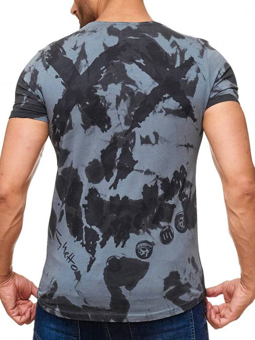 Herren T Shirt Allover Dirty Batik Print Skull Punk H2162 – Bild 10