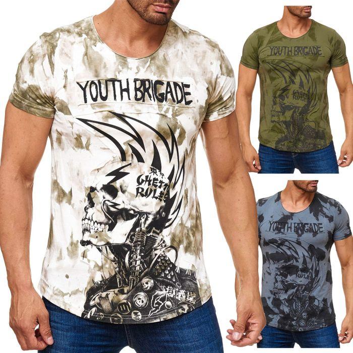 Herren T Shirt Allover Dirty Batik Print Skull Punk H2162 – Bild 1
