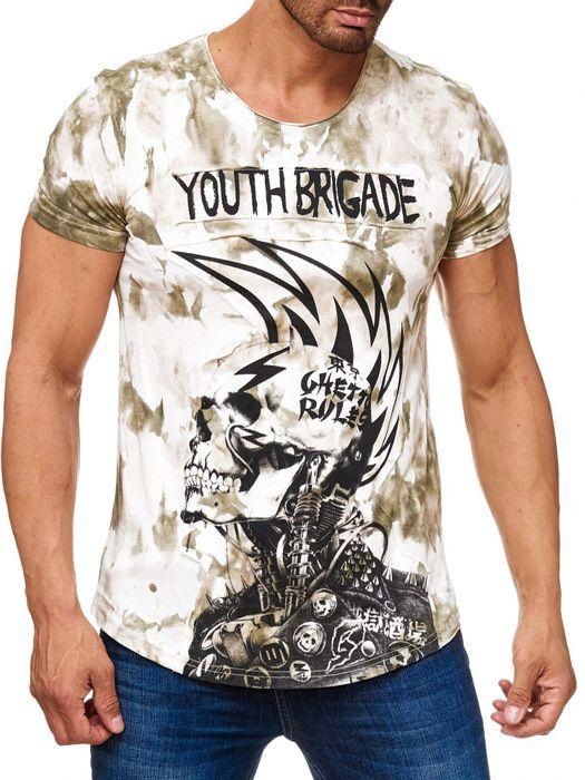 Herren T Shirt Allover Dirty Batik Print Skull Punk H2162 – Bild 5