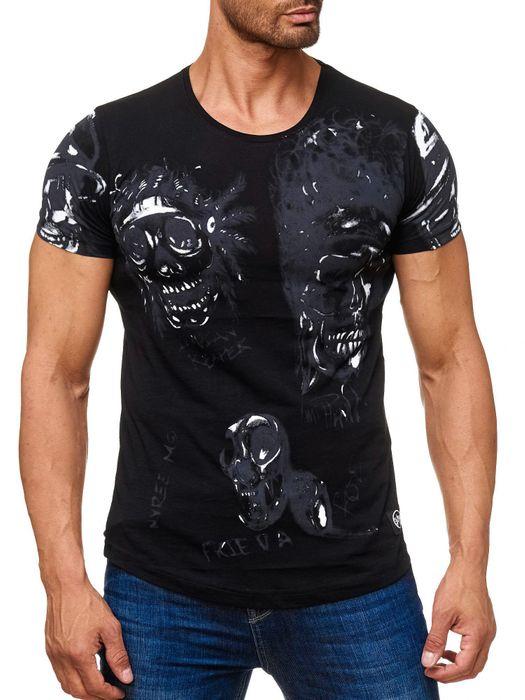 Herren T Shirt Allover Biker Totenköpfe Print Kurzarm H2163 – Bild 2