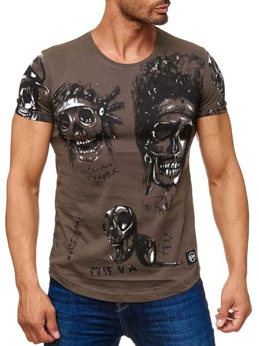 Herren T Shirt Allover Biker Totenköpfe Print Kurzarm H2163 – Bild 5
