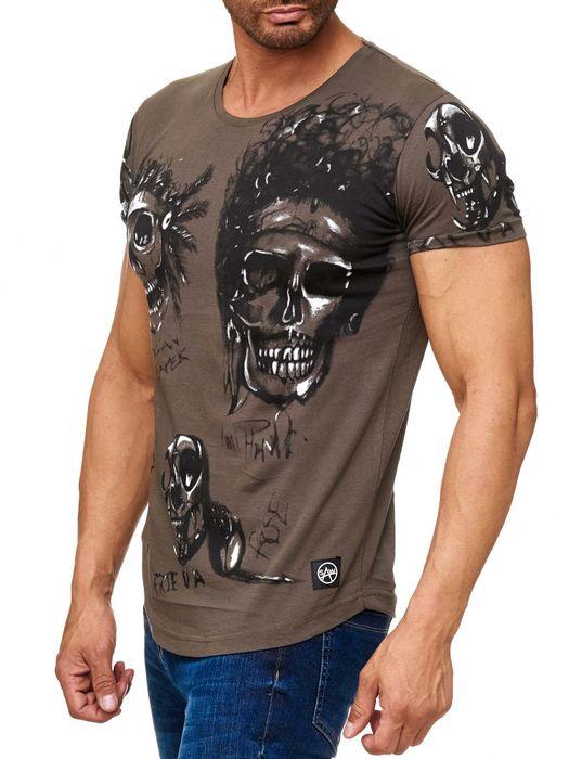 Herren T Shirt Allover Biker Totenköpfe Print Kurzarm H2163 – Bild 6