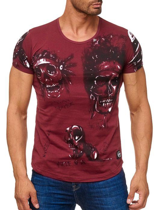 Herren T Shirt Allover Biker Totenköpfe Print Kurzarm H2163 – Bild 11