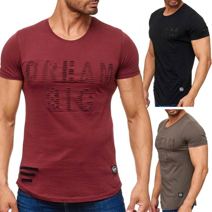Herren T Shirt Ripped Long Tee Destroyed H2165 – Bild 1