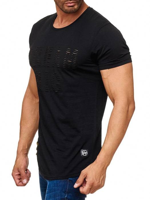 Herren T Shirt Ripped Long Tee Destroyed H2165 – Bild 6