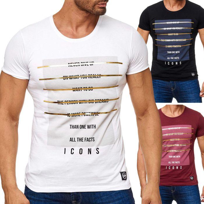 Herren T Shirt Front Print Icons H2166 – Bild 1