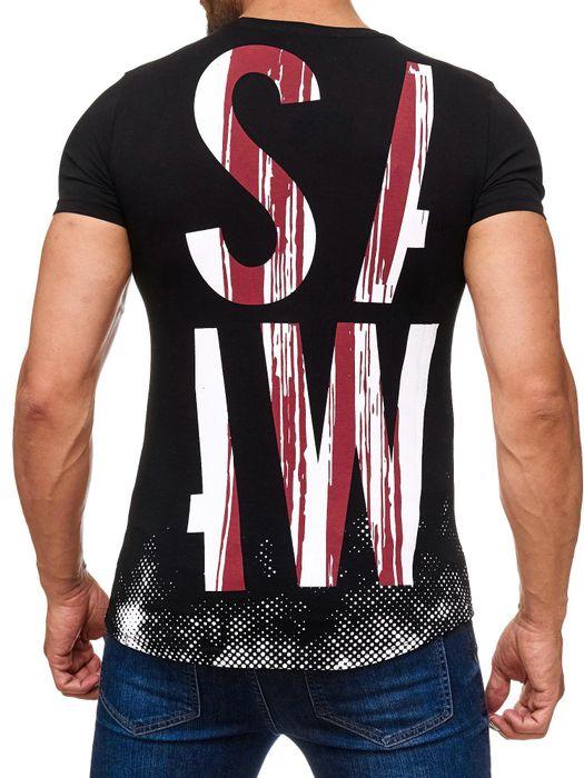 Herren T Shirt Typo Allover SAW Schrift Print H2169 – Bild 7