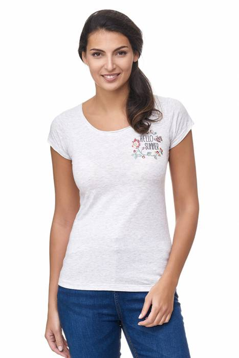 Sublevel Damen T Shirt Hello Summer Floral Blumen Stickerei D2177 – Bild 2