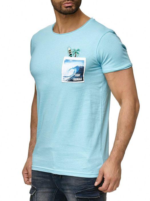 Stitch & Soul Herren T Shirt Palmen Brusttasche Short Sleeve H2187 – Bild 4